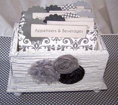Recipe Box Dividers and Cards  Grey and White by peachykeenday, $48.00