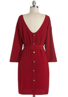 Maple the Grade Dress - Casual, Maxi, Mid-length, Red, Solid, Buttons, Belted, Party, Work, Vintage Inspired, 60s, Fall