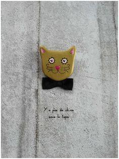 Broche en argile papier - Géronimo le chat