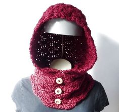 CROCHET PATTERN Hooded Cowl Button Neck Warmer Crochet by zxcvvcxz #crochetpattern #cowl #hoodedcowl