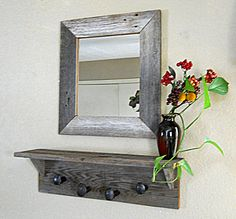 Reclaimed wood Rustic Craftsman Style Mirror with Shelves ...