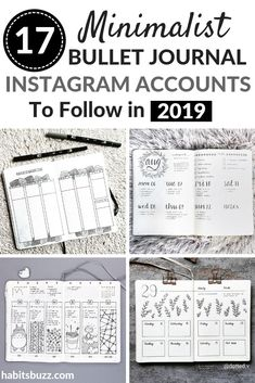 17 minimalist bullet journal accounts you must follow on Instagram in 2019 for bullet journal ideas and inspiration #bulletjournal Bullet Journal Minimalist, Bullet Journal Hacks, Bullet Journal Printables, Bullet Journal 2019, Bullet Journal Spread, Bullet Journal Layout, Bullet Journal Inspiration, Bullet Journals, Journal Covers