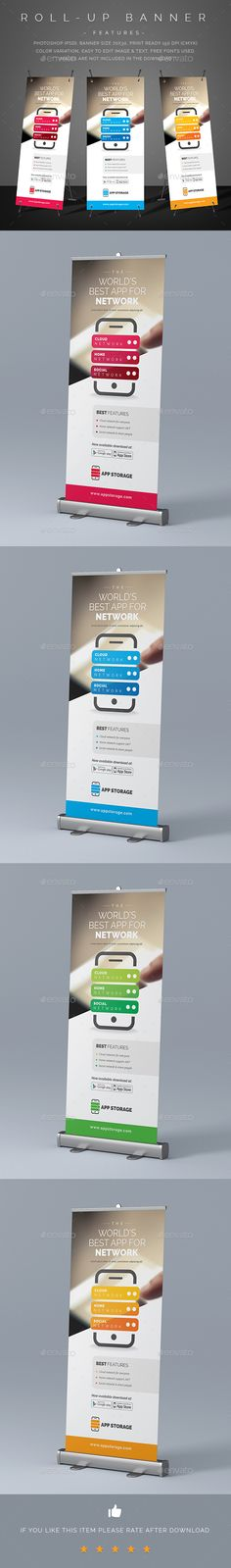 Mobile App Promotion Roll-Up Banner Template PSD