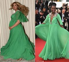 Beyonce & Lupita Nyongo Wear Gucci Green Silk Dress on the red carpet
