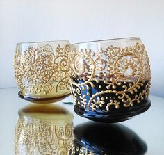 Wobbling Tumblers Stemless wine glasses charms set of 2 Rocking Wine Glasses Hand painted gold floral pattern wine glass tumblers Painted Wine Glasses, Stemless Wine Glasses, Dark Purple Flowers, Colored Bubbles, Hand Painted Walls, Painted Vases, Purple Accents, Perfect Gift For Her, Decorative Bowls