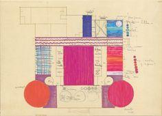 Verner Panton's colour plan for Restaurant Varna from 1971