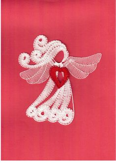 Andělské srdce Lace Heart, Angel Heart, Bobbin Lacemaking, Types Of Lace, Bobbin Lace Patterns, Christmas Crafts, Christmas Deco, Lace Jewelry, Needle Lace