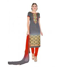 Casual Wear Chanderi Grey Churidar Suit Dress Material  - 70019