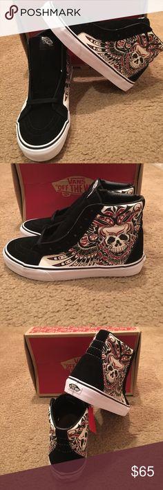 Vans Sk8Hi Skull Machine Vans New in box. Black/white Vans Shoes Sneakers