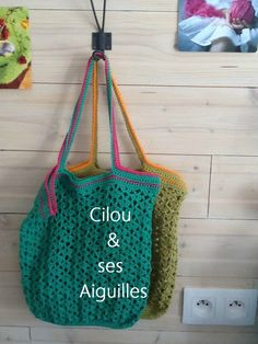 sac à courses vintage et son tuto Filet Crochet, Crochet Diy, Love Crochet, Course Vintage, Diy Sac, Diy Bags Purses, Net Bag, Crochet Handbags, Knitted Bags