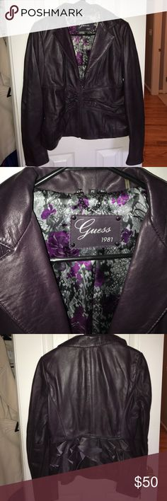 Guess Purple Leather Jacket Gorgeous deep eggplant color Leather Jacket. Has ruffle detail in the back. Like new! No stains rips or tears! I can usually ship same/next day! Check out my closet for more great items! BUNDLE & SAVE! Make an Offer! Guess Jackets & Coats