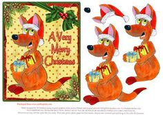 A Very Merry Christmas Kanga 1 on Craftsuprint designed by Di Simpson - A great Aussie themed Christmas topper with 3D elements to bring your card to life.  - Now available for download!