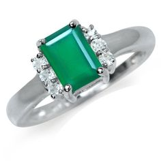 Engagement Rings Simple | Natural Emerald Green Agate  White Topaz 925 Sterling Silver Engagement Ring Size 8 * Want to know more, click on the image. Note:It is Affiliate Link to Amazon.