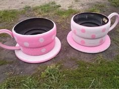 amazing recycled tyre idea....tyre tea cups This would be so cool as planters for tea parties!!!!