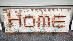 Industrial Reclaimed Copper Pipe Sign Home by FireflyApothecaries
