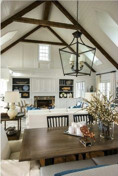 Modern Farmhouse Living Room | Wood Beams