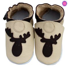 Brown Moose Baby Leather Booties by minitoes on Etsy