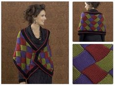 Santiago Entrelac Wrap 3:59 PM . Here is entrelac wrap pattern designed by  Kathy Perry and named Santiago Entrelac Wrap. For more infor...