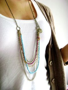 SALE - Bohemian style turquoise purple long seed bead multi layered necklace boho chic hippie indie style
