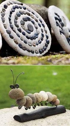 backyard landscaping ideas with beach pebbles - because the kids brought back so many from the beach.....