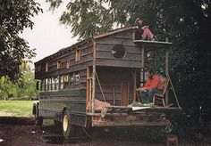 One more 1979 Bus Conversion. This one has a truly awesome double-level back porch and round window. Rolling Homes: Handmade Houses on Wheels by Jane Lidz, Published 1979 by A & W Publishers, Inc.