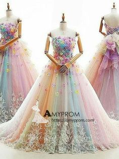 A-line Strapless Ombre Long Prom Dress Long Prom Dress Elegant Evening Gowns AmyProm Wedding Gown Colorful Prom Dresses, Beautiful Prom Dresses, Elegant Dresses, Royal Ball Gowns, Ball Gowns Prom, Wedding Gowns, Robes Quinceanera, Gowns With Sleeves, Dress For You