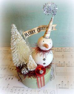 Winter WONDERLAND Holiday Decor Vintage Inspired Snowman Folk Art Christmas Decoration Peppermint