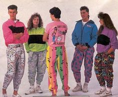 Colourful 80s fashion and style