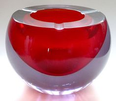 Cenedese Da Ros Murano Sommerso Alexandrite Purple Red ORB Ball Ashtray