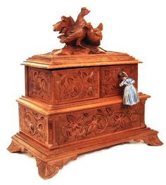 Antique Black Forest Jewelry Box with Hand Carved Rooster and Hen