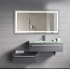 Vanity Lighted Mirror Wall Mount Dressing Room with LED Lights 48 x 24 >>> Visit the image link more details.