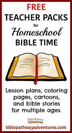 Stories FREE Teacher Packs for Homeschool Bible Time Family Bible Study, Bible Study Plans, Bible Study For Kids, Bible Lessons For Kids, Kids Bible, Toddler Bible, Sunday School Lessons, Free Sunday School Curriculum, Bible Stories For Kids
