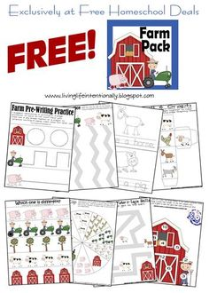 Free Homeschool Deals: Homeschool Freebies, Deals, and Encouragement to help homeschool families afford the homeschool life! Free Preschool, Preschool Printables, Preschool Learning, In Kindergarten, Printable Worksheets, Preschool Themes By Month, Preschool Farm Theme, Teaching, Free Printable