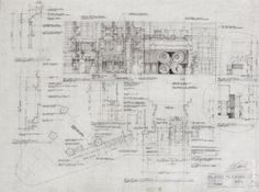 BLADERUNNER (1982) Original set design drawing from the 1982 Ridley Scott film, by set designer David Klassen. Drawing signed by production designer Lawrence Paull and art director David Snyder.