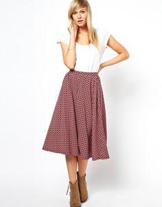 ASOS | ASOS Midi Skirt in Geo Tile Print at ASOS