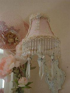 Romantic Chic Blush Beaded Lampshade OH LA LA Shabby Chic Cottage