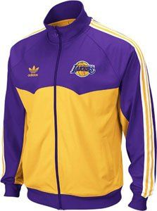 Los Angeles Lakers Adidas Originals Round Off Track Jacket Head out in style with this Adidas Originals Full Zip Track Jacket that shows off your team pride in all season fashion. Features embroidered team logo on the left chest, retro Adidas trefoil logo on right chest, and flocked team name across center back. Includes full zip front with Adidas trefoil logo pull and 3 stripe design on the sleeves for added style. Made of machine washable 100% ...