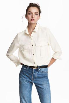 Cargohemd van lyocell - Gebroken wit - DAMES | H&M BE