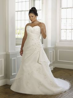 A-Line Strapless Applique Lace Beads Taffeta Chapel Train Wedding Dress at Millybridal.com