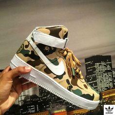 online retailer 82a60 6e663 Nike Air Force 1 BAPE Customs Custom Sneakers, Custom Shoes, Jordan  Basketball, Bape