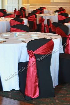 Black White Red event theme colors. Decor and Chair covers / sashes by SatinChairCovers.com Chicago & Suburbs
