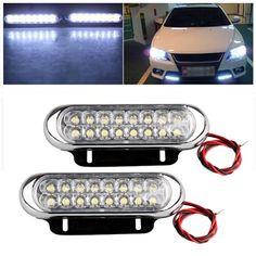 #Spring #AdoreWe #BuyinCoins - #BuyinCoins 2pcs 16 LED Auto Car Truck Van Daytime Running Light DRL/Driving/Fog Light White Lamp Bar 12V - AdoreWe.com