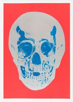 Till Death Do Us Part - Coral Red Silver Gloss True Blue Skull   Damien Hirst (2012)