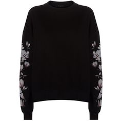 AllSaints Magnolia Lo Sweatshirt (2.560 CZK) ❤ liked on Polyvore featuring tops, hoodies, sweatshirts, oversized tops, floral print tops, allsaints, cotton sweatshirts and oversized sweatshirt