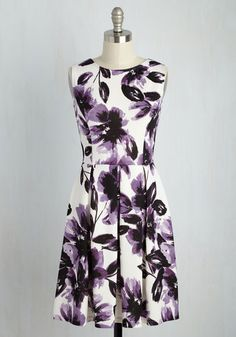 Chic Seminar Dress in Amethyst Bloom - Purple, White, Floral, Print, Casual, A-line, Sleeveless, Summer, Knit, Good, Mid-length, Variation, Work