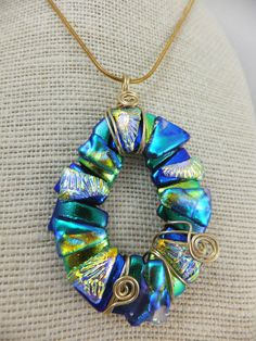 Crazy Oval Donut Pendant - Handmade Dichroic Glass & Wire Wrapped Setting…