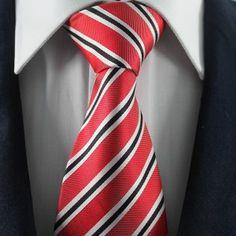 Red & Black Striped Neckties / Formal Business Neckties.