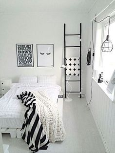 Imagen de white, black, and room