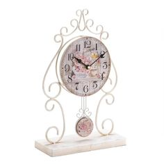 Country Rose (Pink) Tabletop Clock