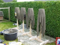 Towel planters in process.